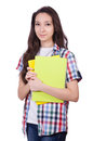 Young Student With Books Isolated Stock Photography - 44749592