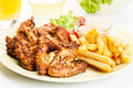 Chicken Wings With Fries French And Spicy Sauce Royalty Free Stock Image - 44764896
