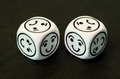 Dice With Happy Emoticon Sides Facing Each Other Stock Photography - 44775752