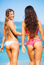 Two Beautiful Young Girls On The Beach Stock Photo - 44789850