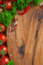 Wooden Board Background, Fresh Tomatoes, Spices And Herbs Stock Images - 44791424