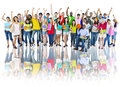 Diverse Group Of High School Students With Arms Raised Royalty Free Stock Photography - 44793457