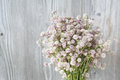 Beautiful Tender Bouquet Of Summer Meadow Flowers On Wooden Back Stock Image - 44796861