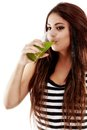 Young Beautiful  Woman With Green Soda And Drinking Royalty Free Stock Photo - 44801025