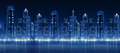 Modern City Skyline At Night With Illuminated Skyscrapers Stock Images - 44805884