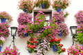 Typical Window Decorated Pink And Red Flowers,  Spain, Mediterra Stock Photography - 44810892