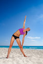 Beautiful Woman Stretching In Yoga With Arm Up Royalty Free Stock Image - 44814246