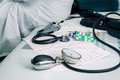 Stethoscope, Pills And ECG Stock Photo - 44818780