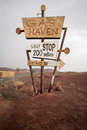 Tall Vintage Gas Sign Standing In The Desert Royalty Free Stock Photography - 44825157