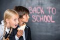 Funny Picture Of School Boy And Girl With Stock Images - 44844994