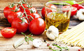 Cherry Tomatoes, Olive Oil,Pasta And Spices,Italian Ingredients Royalty Free Stock Images - 44847829