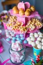 Marshmallow, Sweet Colored Meringues, Popcorn, Stock Images - 44863124