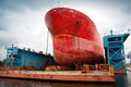 Big Red Tanker Under Repairing In Floating Dock Royalty Free Stock Photos - 44870958