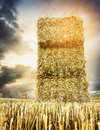 Straw Square Bale On Against Backdrop Of Cloudy Sunset Sky Stock Photo - 44876410