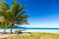 Boat By Palm Tree On One Of The Most Beautiful Tropical Beaches In Caribbean, Playa Rincon Royalty Free Stock Image - 44876976