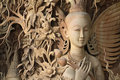 Angel Carved Wood Thai Style Royalty Free Stock Image - 44898556