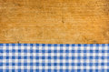 Wooden Background With A Blue Checkered Tablecloth Royalty Free Stock Photography - 44915787