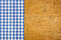 Rustic Wooden Background With A Blue Checkered Tablecloth Stock Image - 44916081