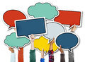 Diverse Hands Holding Colorful Speech Bubbles Royalty Free Stock Image - 44938816
