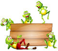 Frogs And Sign Stock Photo - 44942670