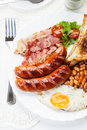 Full English Breakfast With Bacon, Sausage, Fried Egg And Baked Beans Stock Photo - 44966690