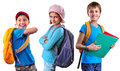 Schoolchildren Of Grade School With Backpack And Books Royalty Free Stock Photo - 44981525