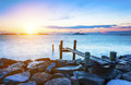 Pier Over Sunset Waters Royalty Free Stock Images - 44983029
