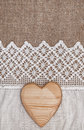Burlap Background With Lacy Cloth And Wooden Heart Stock Photo - 44985090