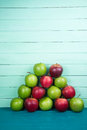 Farm Fresh Pyramid Of Organic Red And Green Autumn Apples On Woo Stock Photo - 44989800
