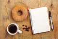 Notebook And Coffee With Donut Stock Photos - 45000293