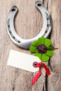 Horseshoe And Four Leaf Clover With Empty Tag Stock Image - 45000341