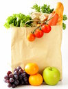 Paper Shopping Bag Full Of Products (bread, Eggs, Sausage) Stock Image - 45002451