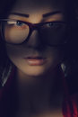 Pretty Girl In Glasses In Shadows Lines Royalty Free Stock Images - 45014929