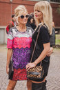 Women Outside Costume National Fashion Shows Building For Milan Women S Fashion Week 2014 Stock Photo - 45017800
