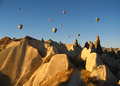 Royal Ballons Flying In The Sunrise Light In Cappadocia, Turkey Above The Fairy Chimneysrock Formationnearby Goreme Stock Images - 45020784