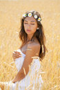 Young Woman In A Wheat Golden Field Royalty Free Stock Image - 45026266