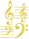Golden Clef Musical Symbol G & F Royalty Free Stock Image - 45026316