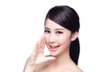 Happy Skin Care Woman Talk To You Stock Photos - 45029763