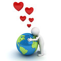 Love The Earth Concept 3d Man Hugging Blue Globe Royalty Free Stock Image - 45039616