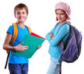Pupils Of Grade School With Backpack And Books Royalty Free Stock Photos - 45041398