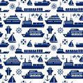 Ships And Boats Marine Seamless Background Stock Photos - 45047703