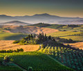 Scenic Tuscany Landscape At Sunrise, Val D Orcia, Italy Royalty Free Stock Images - 45053989