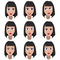 Set Of Variation Of Emotions Of The Same Girl. She Is Remembering, Thinking, Sad, Dreaming, Angry, Surprised, Sending A Kiss, Outr Royalty Free Stock Image - 45057686