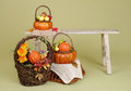 Pumpkins And Apples In Baskets On Wood Bench Stock Images - 45058254
