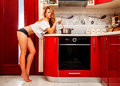 Horizontal Photo Of Sexual Woman In Panties And T-shirt In The K Royalty Free Stock Photos - 45078158