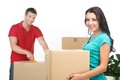 Couple Moving Boxes And Unpacking Stuff. Stock Photos - 45080133