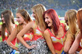 The Cheerleader Portraits Photo Was Taken During Match Between Fc Dnipro Dnipropetrovsk City And Fc Vorskla Poltava City At Stock Images - 45080664