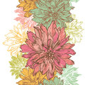 Hand Drawn Dahlia Flowers Vertical Seamless Border Stock Images - 45082944