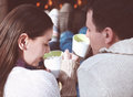 Couple Holding Cups With Hot Chocolate With Marshmallows Stock Images - 45085514