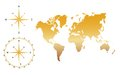 Vector World Map - Gold Royalty Free Stock Image - 45090666